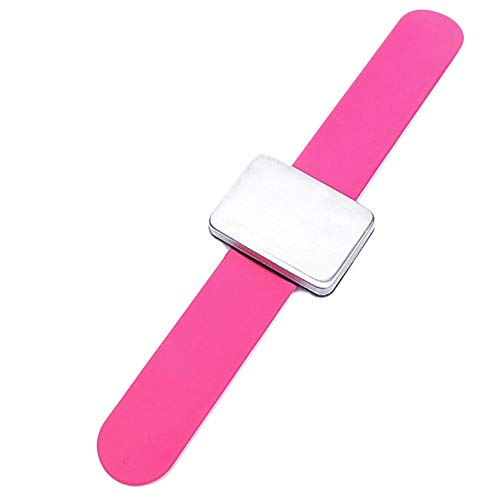 Haude Adjustable Magnetic Bobby Pin Bracelet Self Adhesive Wrist Band Magnetic Plate for Salon Hairstyling Clip Rose Red