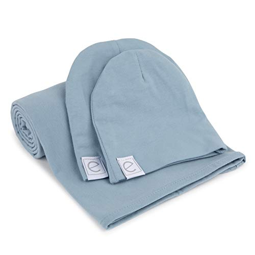 Ely's & Co. Cotton Knit Jersey Swaddle Blanket and 2 Beanie Baby Hats Gift Set, Large Receiving Blanket (Dusty Blue)