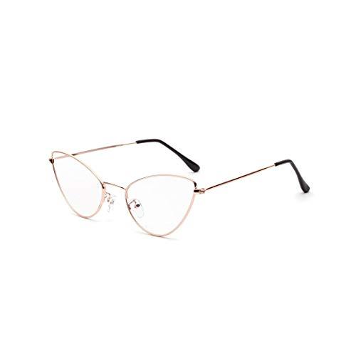 LASTARTS Metallspitzer Eckkatzen-Retro kleiner Glasrahmen, klare Linsen-Unisexglas-Sicherheitsglas-Glasbrillen (Farbe : Rose Gold)