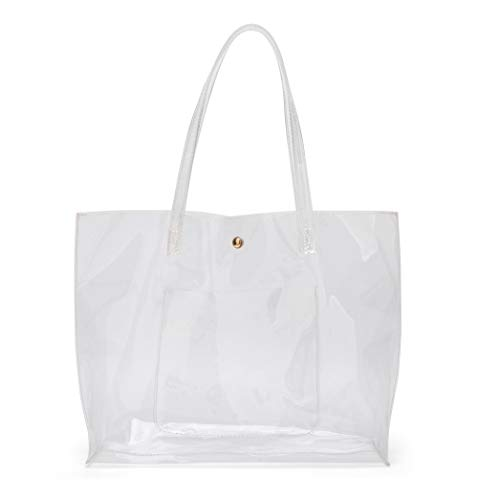 Women's Soft Clear Leather Tote Shoulder Bag from Dreubea, Big Capacity Handbag Clear