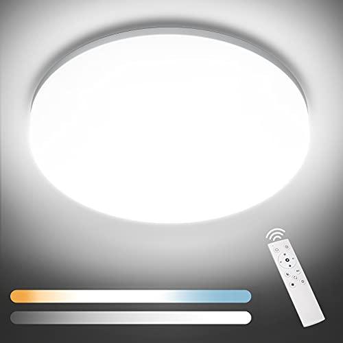 NIXIUKOL Plafon LED Techo Regulable 24W Lámpara de Techo Regulable con Mando a Distáncia IP54 Impermeable 3000K-6000K Lampara Techo Luz para Salón, Dormitorio, Baño, Cocina, Pasillo etc, 28cm