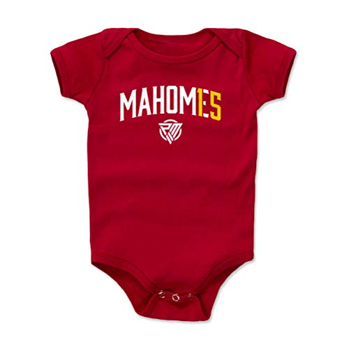 1UP Sports Marketing Patrick Mahomes Kansas City Football Baby Clothes, Onesie, Creeper, Bodysuit (12-18 Months, Red) - Patrick Mahomes Name Number WHT