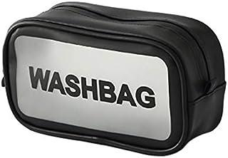 Rubik Waterproof Cosmetic Toiletry Bag PU Leather with Zipper for Men Women, Travel Washbag Storage Organizer For Makeup C...
