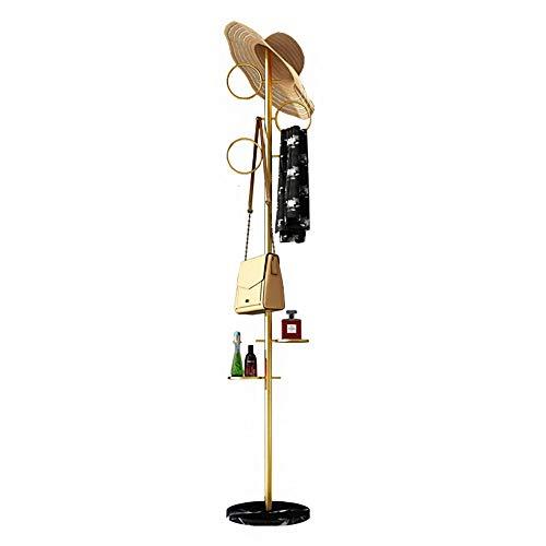 Perchero de Pie Moderno de Recibidor con 6 Ganchos para Recibidor, Minimalista Colgador Metálico para Ropa Gorros Bolsas, Altura 170 cm y Oro