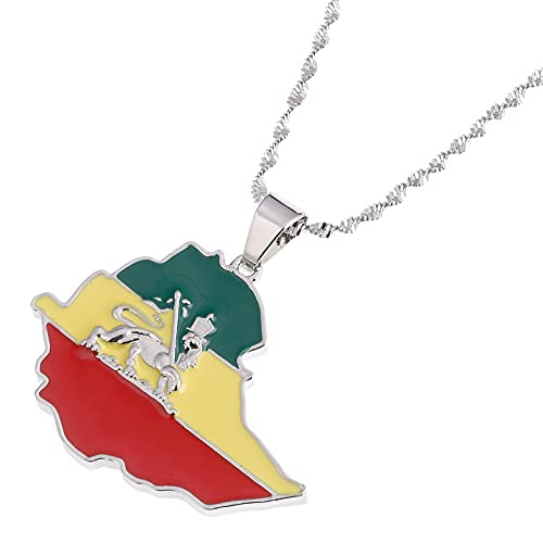 WDBUN Collar Colgante Collar con Colgante de Mapa de León de Bandera etíope de Moda para Mujeres y Hombres, joyería de Cadena de Mapa de Plata de Color Dorado Navidad Día de San Valentín Regalo