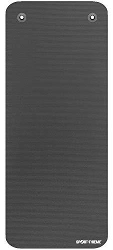 Sport-Thieme Gymnastikmatte Premium mit Ösen | Schadstofffreie Fitnessmatte, Trainingsmatte, Yogamatte | Grau | LxBxH: 190x80x1,5 cm | geschlossenzelliger Spezial-Schaumstoff | 2,4 kg