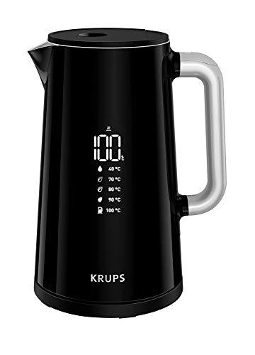 Krups BW8018 Smart\'n Light Elektrischer Wasserkocher | 5 Temperaturstufen | Digitalanzeige | 30 Min. Warmhaltefunktion | Auto-Off | 1,7 L Fassungsvermögen | Doppelwandkonstruktion | Schwarz
