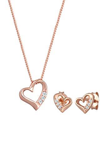 DIAMORE Schmuckset Damen Ohrstecker Herz Liebe mit Diamant (0.12 ct.) in 925 Sterling Silber