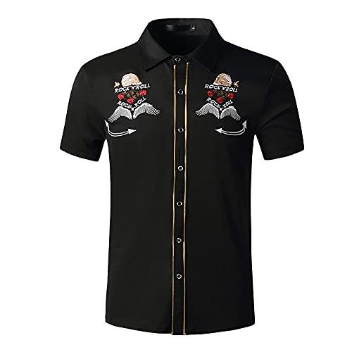 LSSM Camisa De Manga Corta De Mezclilla para Hombre Camisa De Verano Ajustada Bordada A La Moda para Hombre Sleeve Shirt Manga Corta Bolsillo Delantero ImpresióN De Hawaii Slim Fit Negro S