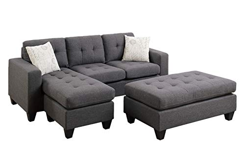Poundex One Sectional with Ottoman and 2 Pillows in Gray, Blue Grey