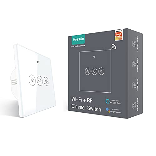 MoesGo Smart Alexa Wlan RF433 Touch Dimmer Lichtschalter, Smart Home WiFi Funk LED Licht Dimmschalter Kompatibel mit Alexa Echo und Google Home Assistant Smart Life Tuya App Fernbedienung