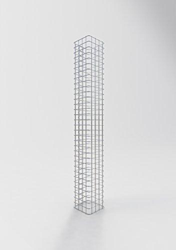 GABIONA Säule Steinkorb-Gabione eckig, Maschenweite 5 x 5 cm, Höhe 160 cm, Spiralverschluss, galvanisch verzinkt (22 x 22 cm)