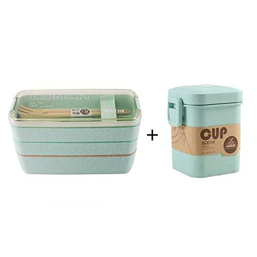 Bruce Dillon Gesunde Materialien Bento Box 3-lagiger Weizenstroh Bento Box Mikrowellengeschirr Lebensmittelvorratsbehälter - Grünes Set