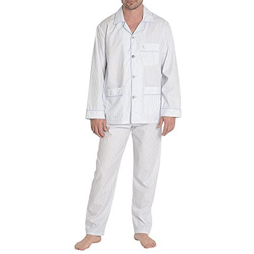 El Búho Nocturno - Pijama Hombre Largo Solapa Popelín Rayas Premium The Gentlemen's Choice Celeste Talla 5 (XL) Celeste-Azul-Rayas 100% algodón
