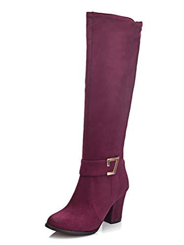 Damen Kniehohe Stiefel Blockabsatz Wildleder Knielange Stiefel Herbst Winter High Heel Stiefel Weinrot 38 EU