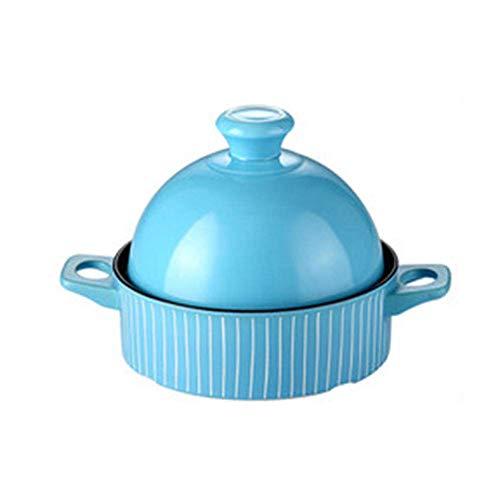 AXAA Topf 22cm1.3l Keramik Slow Cooker Hochtemperatur- und Verbrühschutz-Doppelohrgriff Haushalts-Antihaftbeschichtung Leicht zu reinigen Blau