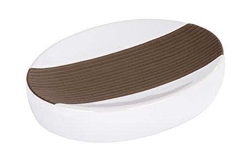 WENKO 21677100 Seifenablage Bahia Braun - Seifenschale, Keramik, 13.7 x 3 x 10.5 cm, Weiß