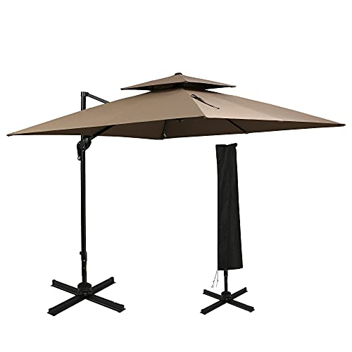 Outsunny 10' 2-Tier Canopy Cantilever Patio Umbrella with Rotating Base & 5-Position Tilt, Coffee