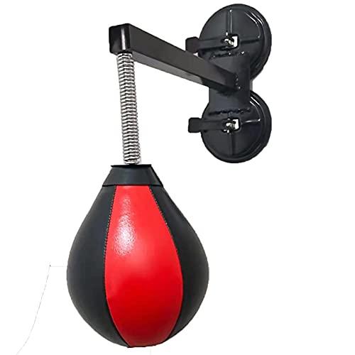Lqdp Punching Ball Pelota de Boxeo con Soporte y Bomba de Aire, Saco de Boxeo de Cuero montado en la Pared para Apartamentos/dormitorios/Garaje Gimnasio, Negro + Rojo