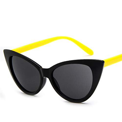 ShZyywrl Gafas De Sol Gafas De Sol De Ojo De Gato Mujer, Gafas De Sol De Marca Retro,Negro, Amarillo, Gris (L)