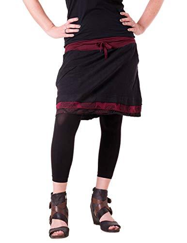 Vishes - Alternative Bekleidung - Kurzer Lagenlook Rock aus Baumwolle - mit Taschen zum Binden schwarz-rot 46/48