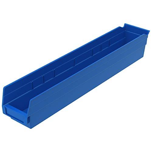Akro-Mils - 30124BLUE 30124 Plastic Nesting Shelf Bin Box 24-Inch x 4-Inch x 4-Inch Blue 12-Pack