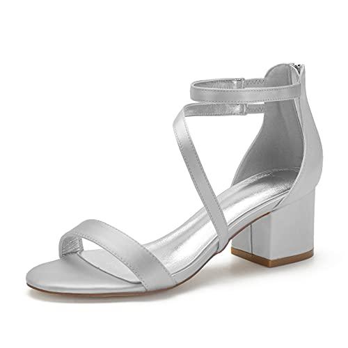 Zapatos De Boda Tacón Bajo Mujer Tira De Tobillo Punta Abierta Sandalias...