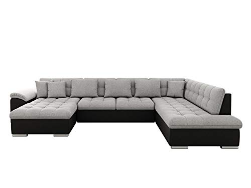 Eckcouch Ecksofa Niko! Design Sofa Couch! mit Schlaffunktion! U-Sofa Große Farbauswahl! Wohnlandschaft! (Ecksofa Links, Soft 011 + Bristol 2460)