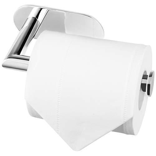 Porta rotolo di carta igienica autoadesivo Acciaio Lucido, 3M, in acciaio inox SUS 304 di alta qualità, antiruggine, per bagno