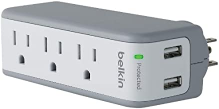 Belkin Wall Mount Surge Protector - 3 AC Multi Outlets & 2 USB Ports - Flat Rotating Plug Splitter - Wall Outlet Extender for Home, Office, Travel, Computer Desktop & Charging Brick - 918 Joules