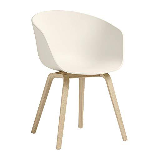 HAY About a Chair AAC Armlehnstuhl Eiche matt lackiert, Creme weiß Sitzschale Polypropylen Gestell Eiche matt lackiert mit Kunststoffgleitern