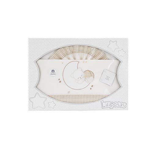 Triptico Sabanas 100% Algodón Minicuna 50X80 - (bajera+encimera+funda almohada) (Oso dormido beig)