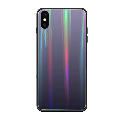 AIsoar Compatible with iPhone Xs Case,Transparent Laser Aurora Gradient Color Sparkle Bling Glitter Tempered Glass Case Soft Bumper Hard Back Slim Shockproof Protective Cover - Dark Gray