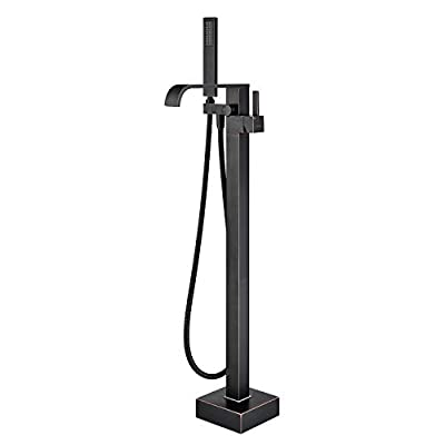 Artiqua Freestanding Bathtub Faucet Tub Filler Oil Rubbed Bronze Floor Mount Brass Bathroom Faucets Single Handle with Hand Shower