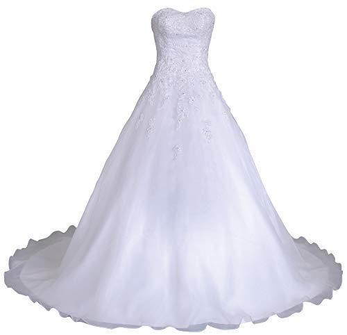 Romantic-Fashion Brautkleid Hochzeitskleid Weiß Modell W081 A-Linie Lang Satin Organza Perlen Pailletten DE Größe 46