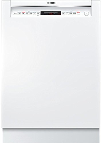 Bosch 800 Series 24 Inch Built In Full Console Dishwasher with 6 Wash Cycles, 16 Place Settings, Soil Sensor, Energy Star Certified, Delay Start, RackMatic, Flexible 3rd Rack in White