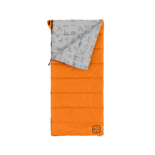Core Youth Indoor/Outdoor Sleeping Bag - Great for Kids, Boys, Girls - Ultralight and Compact Perfect for Backpacking, Hiking, Camping, and Sleepovers (Orange)