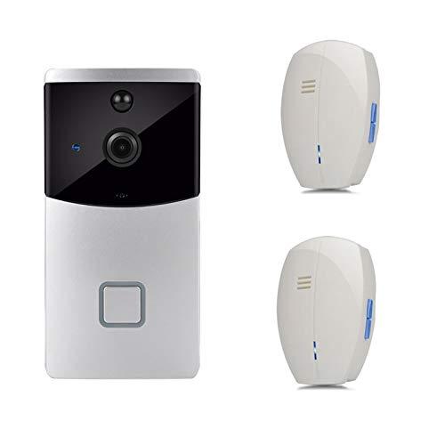 YSAYK Videoportero IP Inteligente WI-FI Video Puerta Teléfono Timbre WiFi Timbre Cámara para Apartamentos Alarma IR Cámara De Seguridad Inalámbrica (Color : ZC03 2Chimes)
