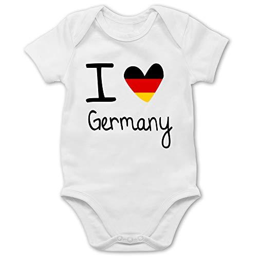 Städte & Länder Baby - I Love Germany - 18/24 Monate - Weiß - Baby Germany - BZ10 - Baby Body Kurzarm für Jungen und Mädchen