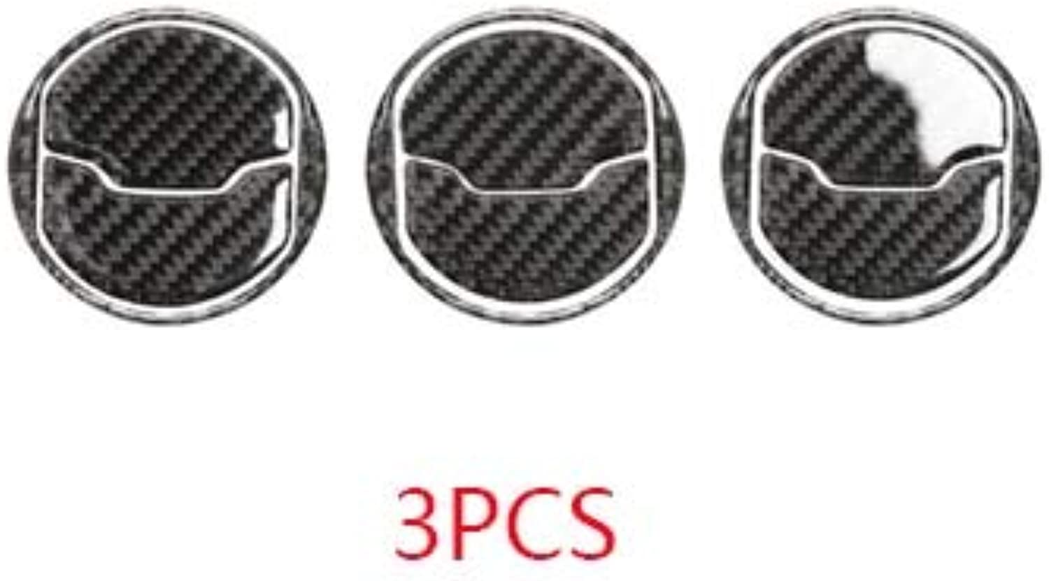 Car Stickers Air Conditioner Outlet Decoration Trim Circular Carbon Fiber for Ford Mustang Carbon 2015 2016 2017  (color Name  C3PCS)