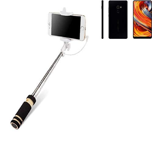 K-S-Trade Selfie Stick palillo Compatible con Xiaomi Mi Mix 2, Negro, Monopod, mástil telescópico, autorretrato
