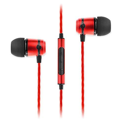 Oferta de SoundMAGIC E50C Auriculares Profesionales con Aislamiento de Sonido, monitores intraauriculares, Auriculares con Cable, HiFi Stereo, Conector de 3,5 mm, con micrófono, Rojo