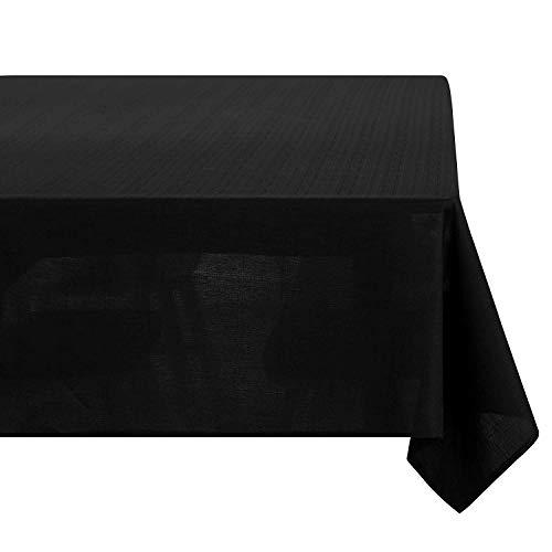 Deconovo Tovaglia Impermeabile Antimacchia Rettangolare in Tessuto Aspetto Lino per Tavola 130x280cm Nero