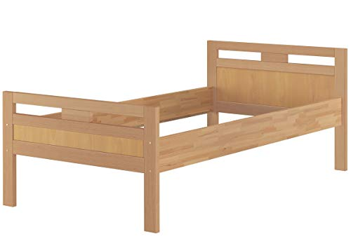 Erst-Holz® Massivholzbett Seniorenbett Buche Natur 100x200 Einzelbett Hohes Bett Komforthöhe 60.74-10 oR