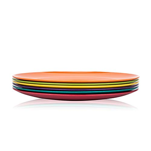 Melamine Plates, 10.5-inch Dinner Plates Dinnerware Dish, set of 6 in 6 Assorted Colors | 100% Melamine, Dishwasher Safe, BPA Free