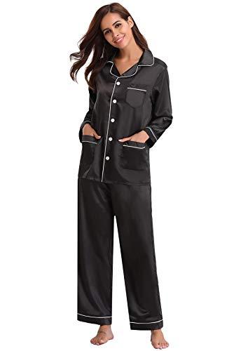 Aibrou Satin Pyjama Damen Nachthemd Lang V-Ausschnitt Zweiteiliges Schlafanzüge Frauen Hosen Hausanzug Sleepwear Klassische Loungewear Seide Sleepwear Set,Schwarz,48-50