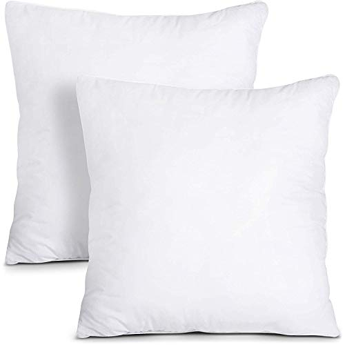 Utopia Bedding Decorative Pillow Inserts - Square Pillow 18 x 18 Inches Sofa and Bed Pillow - Throw Pillow Insert 2 Pack - White Couch Pillow