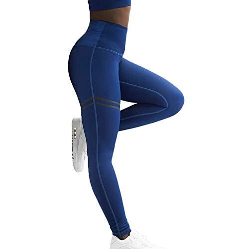 Ktimor Damen High Waist Anti-Cellulite Kompressions-Leggings für Bauch, Yoga und Laufen Gr. XL, blau