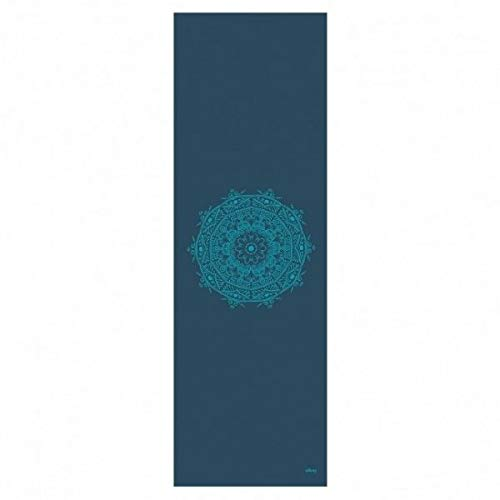 "Yogamatte der LEELA COLLECTION, PVC-MAttte mit Öko-Tex 100, petrol, bedruckt mit türkisem Design-Print ""MANDALA, Sticky Mat"