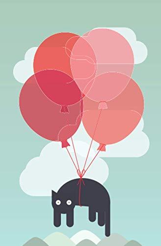 Notizbuch fliegende Katze: Niedliche Katze mit Luftballons